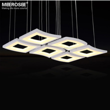 Modern LED Chandelier Light Fixture White Acrylic Hanging Lamp Lustre LED Windows shape Drop Light for Living room Dining room 74w modern led chandelier light 3 rectangle acrylic light fixture led lighting lustres lamp for living room dining room large