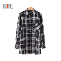 ZA Women Vintage Plaid Pleated Loose Shirt Pocket Long Sleeve Loose Oversized Blouse Female Casual Brand