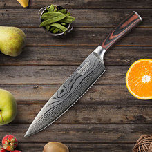 Professional 8 inch Chef's Knife Stainless Steel Kitchen Knives Sanding Laser Pattern Blade Pakka Wood Handle Cutter CookingTool