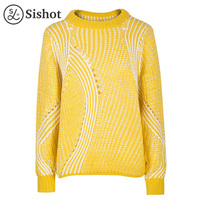Sishot Women Casual Knitwear 2017 Autumn Yellow Stripes Hollow Long Sleeve Loose Fashion Pink Stripe O