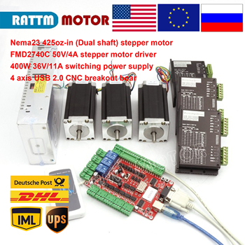 CNC 3 Axis Nema 23 stepper motor kit 112mm (Dual shaft) 425oz-in & FMD2740C 50VDC Motor Driver & 4 axis USB port breakout board free ship from germany act motor 1pc nema23 stepper motor 23hs2442 single shaft 4 lead 425oz in 112mm 4 2a 8mm diameter bipolar