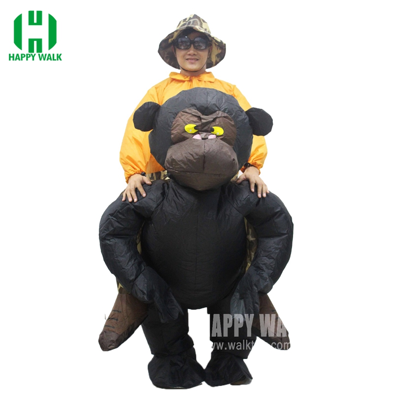 New Christmas Women/Men Riding Inflatable Gorilla Costume Cosplay Funny Inflatable Costume Halloween Monkey Costume For Adults