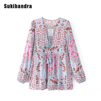 Sukibandra Vintage Floral Print Womens Blouses Boho Long Sleeve Lace Up Casual Loose Blouse V Neck
