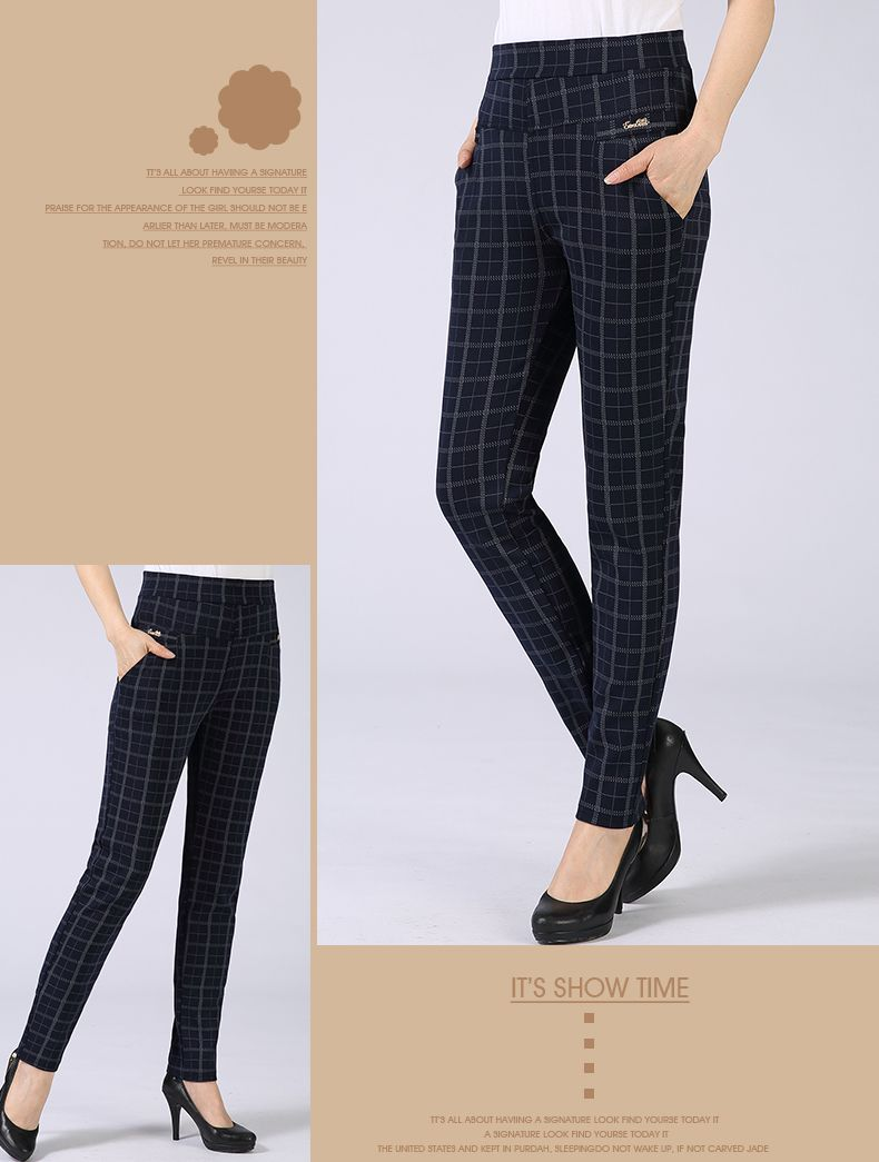 Spring Autumn Woman Casual Pant Navy Blue Black Khaki Gray Trousers Middle Aged Women Plaid Pattern Pants High Waist Trousers Mother Bottoms (11)