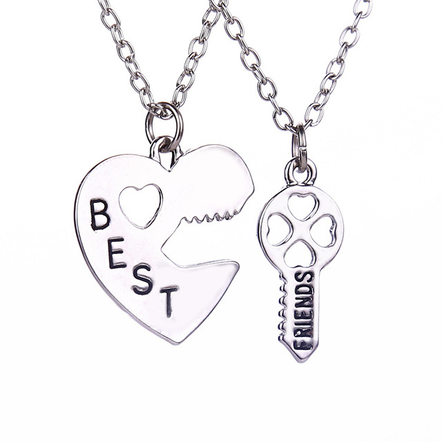 ae5ca30d3a 2 Pcs/set Friendship Heart Key Pendant Necklaces Silver Chain BEST FRIEND  Couple Necklace For Brother Sister Bff Gift Collares