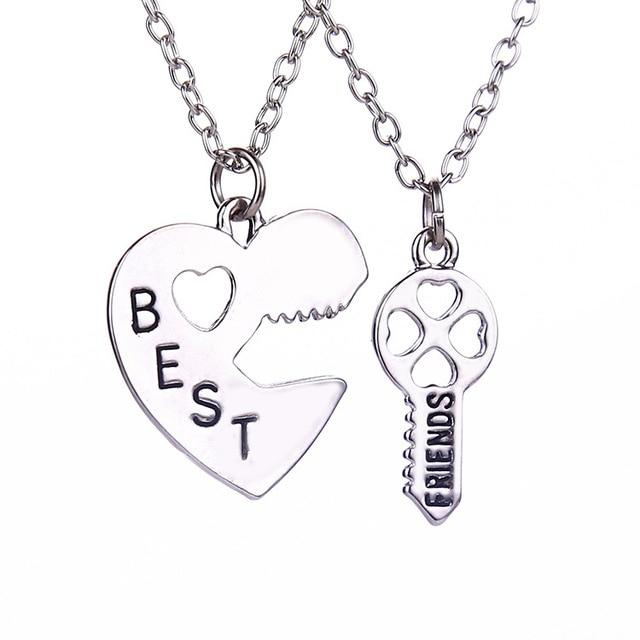 2 pcsset friendship heart key pendant necklaces silver chain best 2 pcsset friendship heart key pendant necklaces silver chain best friend couple necklace for aloadofball Image collections
