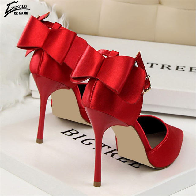 Bow Red High Heels bridal shoes Woman Pumps Satin Heels Wedding Shoes Ladies Red High Heels Shoes 10cm