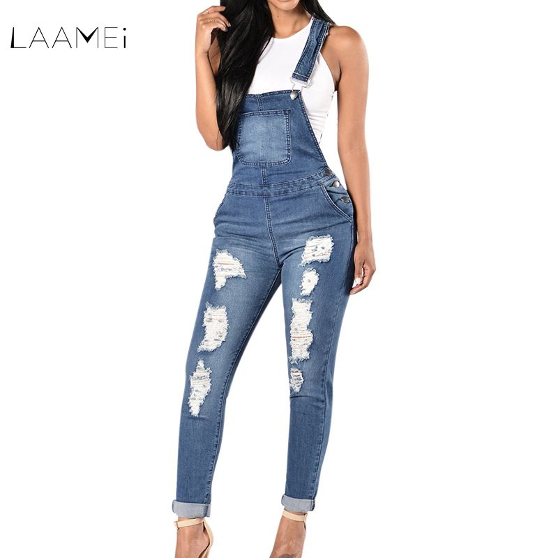 US $13.79 36% OFF|Laamei 2018 New Spring Women Overalls Cool Denim Jumpsuit Ripped Holes Casual Jeans Sleeveless Jumpsuits Hollow Out Slim Rompers in