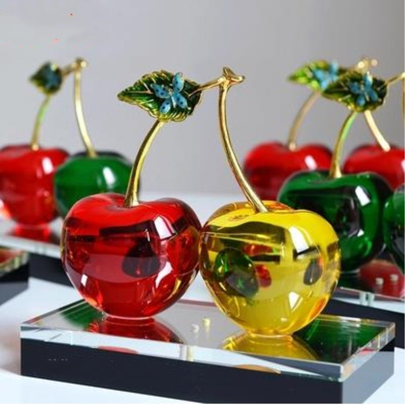 Crystal cherries beautiful crystal crafts home desktop decoration gifts mascots