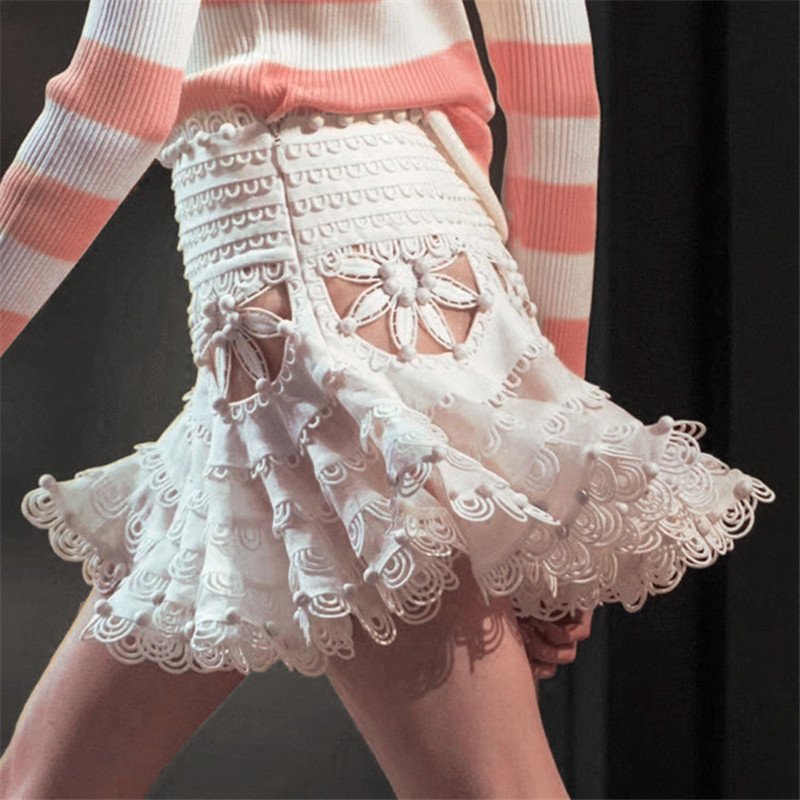 Moda Faldas 2019 Sexy Verano Mini blanco Falda Mujer De Vestido Negro Cintura Tutu Encaje Alta Frz5Bqrw