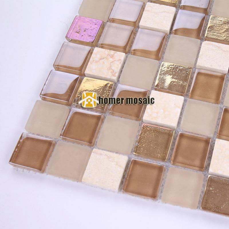NºCristal marrón claro amarillento mezclado piedra mosaico azulejos ...