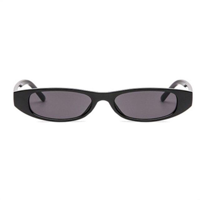 Sunglasses Women Small Rectangle Cat Eye Brand Designer Retro Skinny Eyewear Black Frame Red Sun Glasses 3