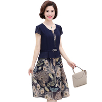 Middle aged Mum Costume Summer Dress 2018 New Print Elegant Fake Two piece Chiffon Dress Sexy Slim Plus Size 5XL Women Dress 190