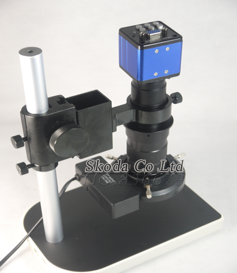 2MP HD Digital Industrial Microscope Camera For Industry Lab VGA Video Output+130X C-mount Lens + 56 LED Ring Light + Stand