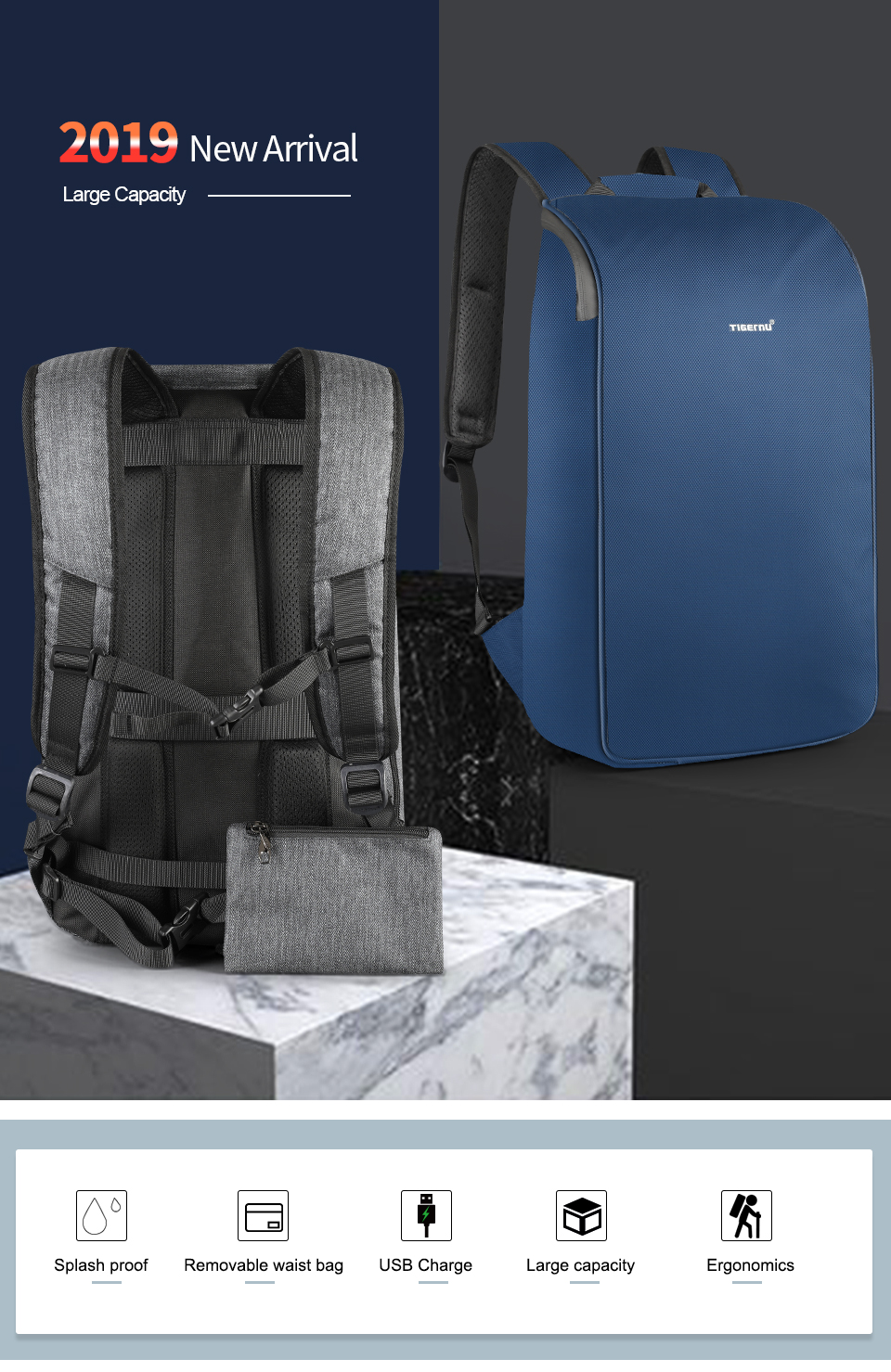 Brand New Trendy 2019 Male Travel Backpack