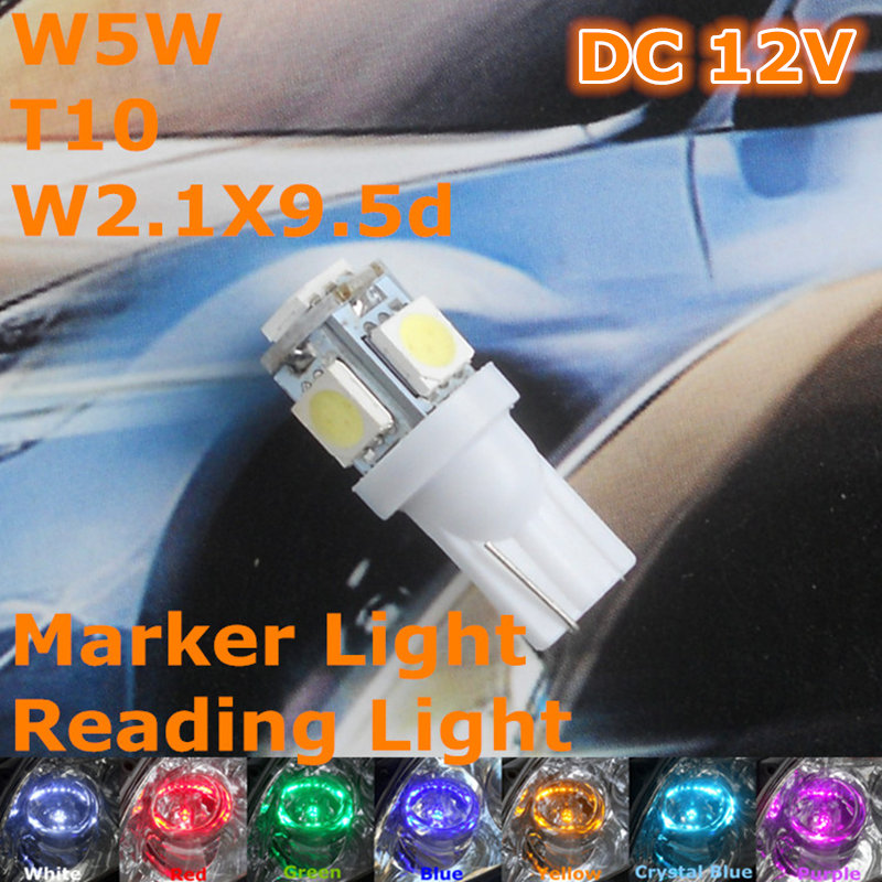 Stock Shipping New 12V CE LED Car Bulb(Pair) T10(5*5050 SMD Lamp) W5W W2.1X9.5d for Signal Top Reading Width Parking Light
