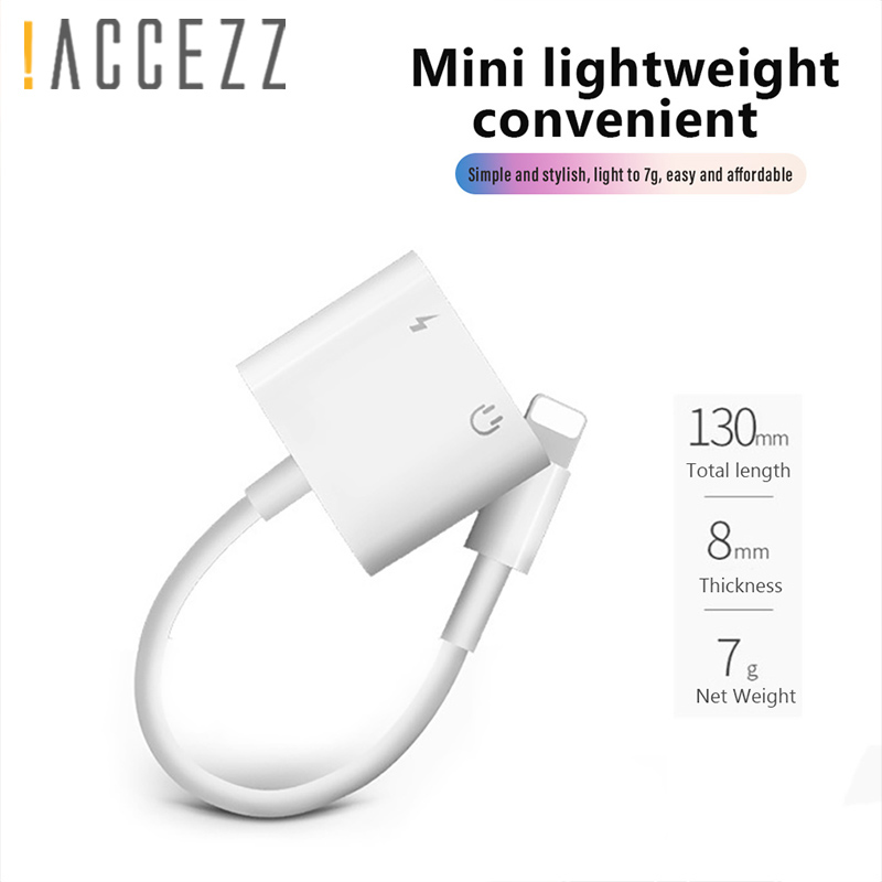 !ACCEZZ Charge Lighting Adapter For IPhone X 7 8 Plus XS MAX Splitter 3.5mm Earphone Jack Listening Aux Cable Connecter Adapters
