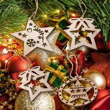 2019 nuevo colgante de decoración navideña con Árbol de Navidad de estrella de cinco puntas DIY Vintage nórdico de madera
