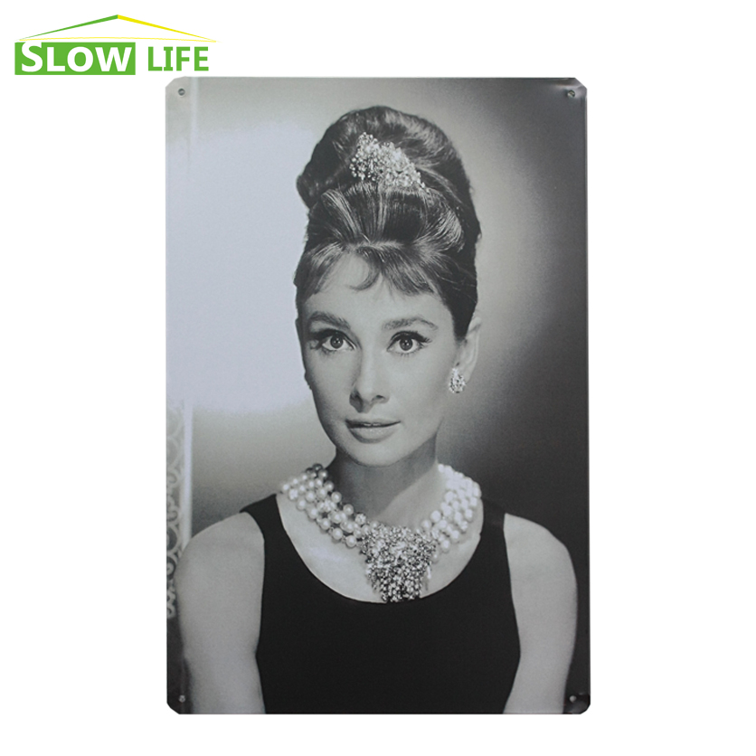 <font><b>Elegant</b></font> Audrey Hepburn Image Vintage <font><b>Home</b></font> <font><b>Decor</b></font> Tin Sign 8