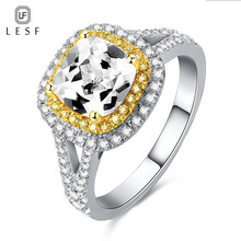 LESF 2.5 ct Cushion Cut High-end  Engagement Halo RingsLuxury 925 Sterling Silver Two Tone Split Band Wedding Band For Women цена 2017