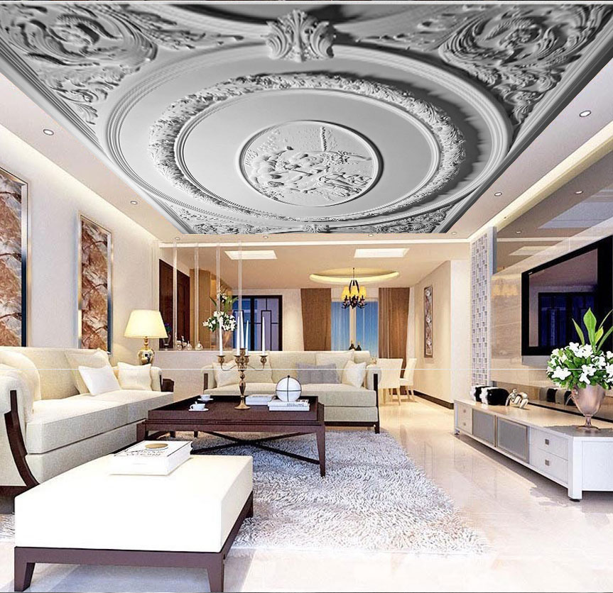Custom White Plaster 3d Ceiling Wallpaper for Hall Living Room Hotel 3D Ceiling Murals European Wall paper Large Photo mural custom 3d ceiling wallpaper white polygon brick wall wallpaper for walls 3 d ceiling murals wallpapers for living room