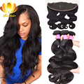 13x4 Ear To Ear Lace Frontal Closure With Bundles 7A Peruvian Virgin Hair Body Wave 3 Bundles Human Hair With Closure on Sale