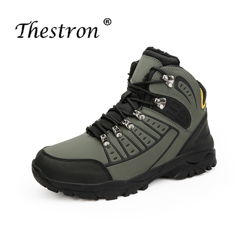 Trekking Hiking Shoes Man Waterproof High Ankle Hiking Boot for Men Outdoor Trail Plus Size 39-46 Winter Fur Walking Sneakers