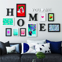 Europe Style 9pcs Combination Photo Frames For Family Picture Black Wall Sticker Picture Frames Set Home