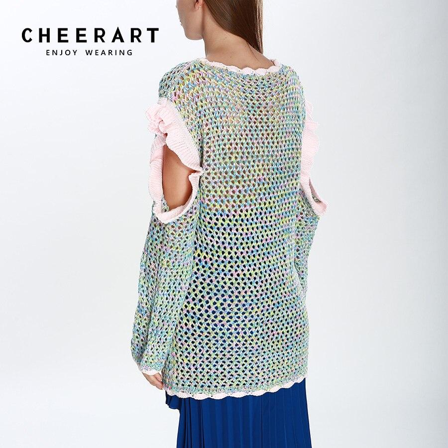 Cheerart Ruffle Cold Shoulder Sweater Women Long Sleeve Crochet ...