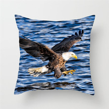 Fuwatacchi Bald Eagle Cushion Cover Ocean Birds Throw Pillows Car Home Sofa Bed Decorative Case Office Decoration