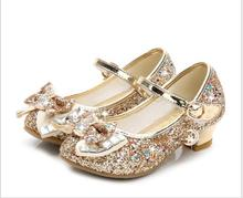 цена на Classic Bow Girl PU Leather Shoes For Girls Party Dance Children Kids Shoes 3-14 Years Princess High Heels Child Wedding Shoes