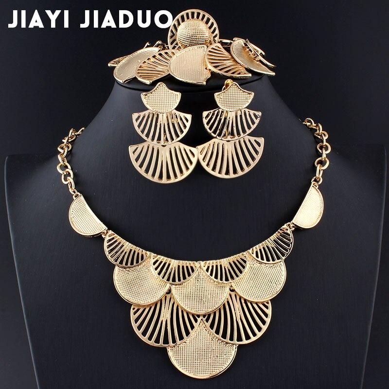 Hochzeits- & Verlobungs-schmuck Jiayijiaduo Hochzeit Schmuck Sets Für Frauen Halskette Ohrringe Charme Kleidung Zubehör Blatt Gold Farbe/silber Farbe Türkische