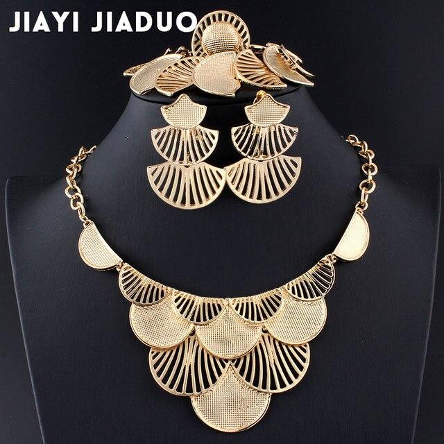 Jiayijiaduo boda juegos de joyería para las mujeres pendientes de collar de encanto accesorios hoja de oro/color plata turco