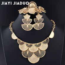 jiayijiaduo Wedding jewelry set for women Necklace earrings charm clothing accessories Leaf gold color / silver color Turkish