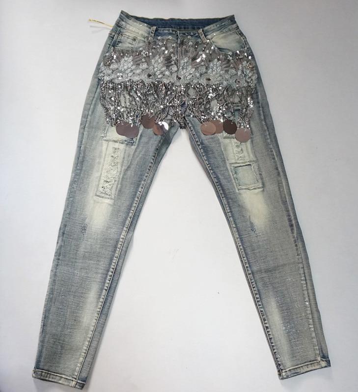 Femeninos Elástica Vaqueros 0906 Jeans Denim Vintage Skinny Mujer Lentejuelas Casual Pantalones Lujo Con Cordón Delgado AqzwZArBEx