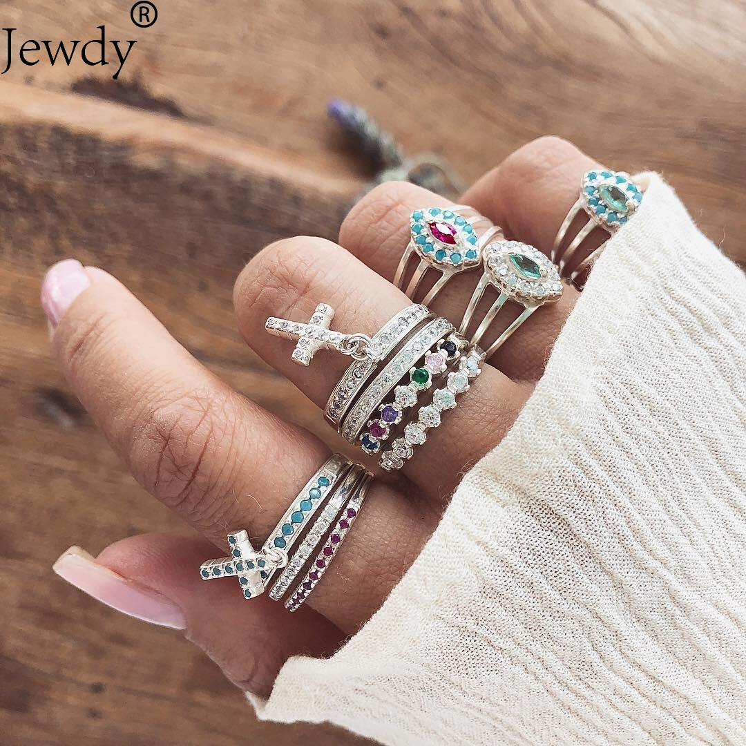 Jewdy Design Vintage Stack Midi Rings Set Antique Silver Color Boho Female Charms Jewelry Knuckle Ring For Women Fashion Party