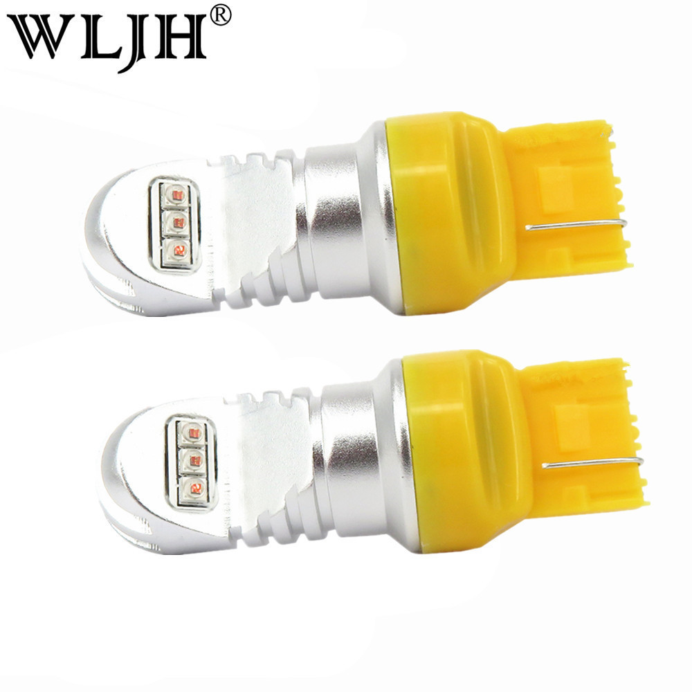 WLJH 2x 30W 800LM Amber Yellow 7440 7440A <font><b>T20</b></font> <font><b>LED</b></font> <font><b>Bulb</b></font> Front <font><b>Rear</b></font> Turn Signal Tail lights Daytime Running DRL Lights No Resistor image