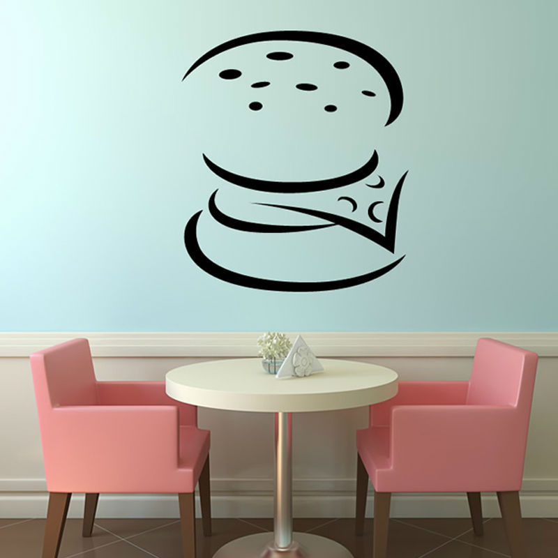 DIY Simple Home Decoration Wall Sticker PVC Waterproof Removable Burger Wall Decal For Lounge
