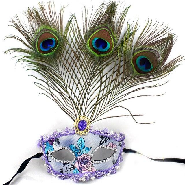 Beautiful peacock feather masquerade mask multi color half face christmas festive decoration - Beautiful peacock feather ...