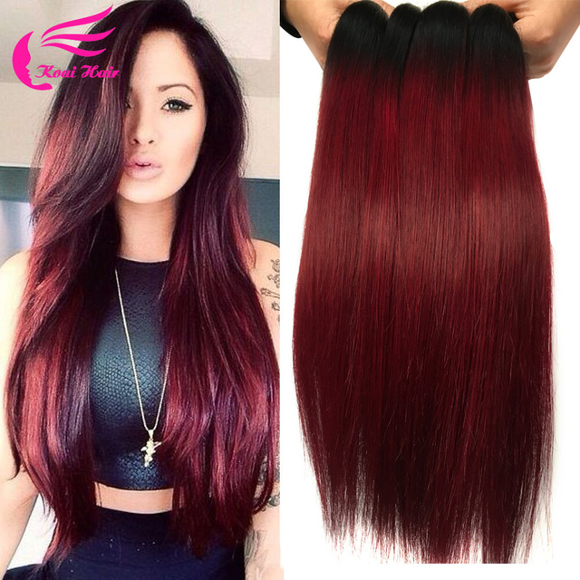 Ombre Hair Extensions 1b 99j Brazilian Straight Hair Burgundy Red