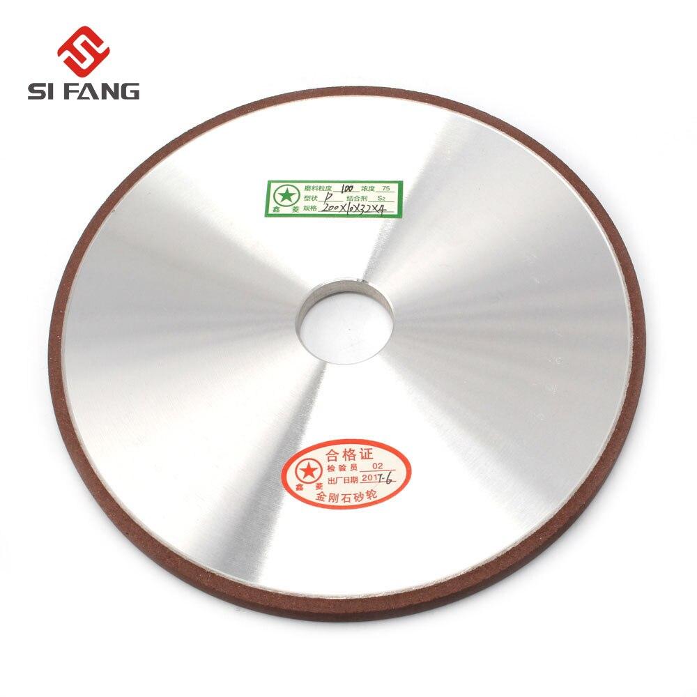 Disque de meulage de meule de diamant de 200mm pour la meule d'affûtage de meule outils abrasifs rotatifs 100/120/150/180 grain