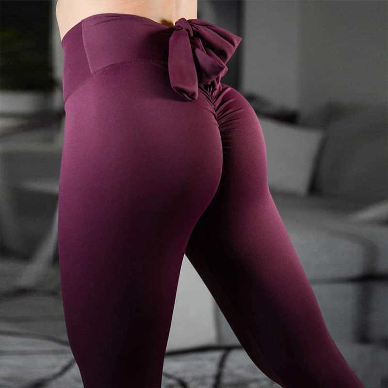 6a9cbdcee5 FNMM 2019 Bowknot With Back Yoga Pants Women's Trousers With High Waist  Leggings Fitness Push Up