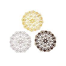 Бесплатная доставка, коннекторы для филигранных цветов, металлические изделия, подарочные украшения «сделай сам», 3,5 см, 5,0 см