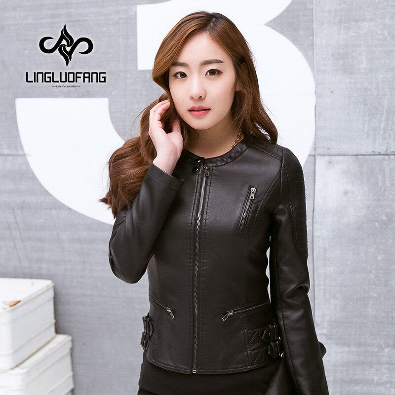 2017 new was thin body pu   leather   jacket short jacket round neck Korean women's clothing   leather   women 15H109