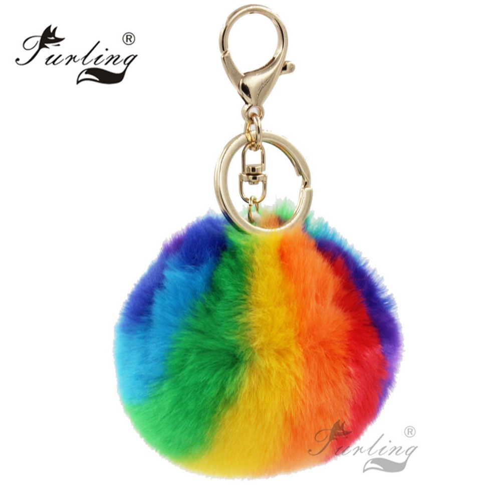 Black 1pc 9CM Faux Rabbit Fur Pom pom Keychain for Women