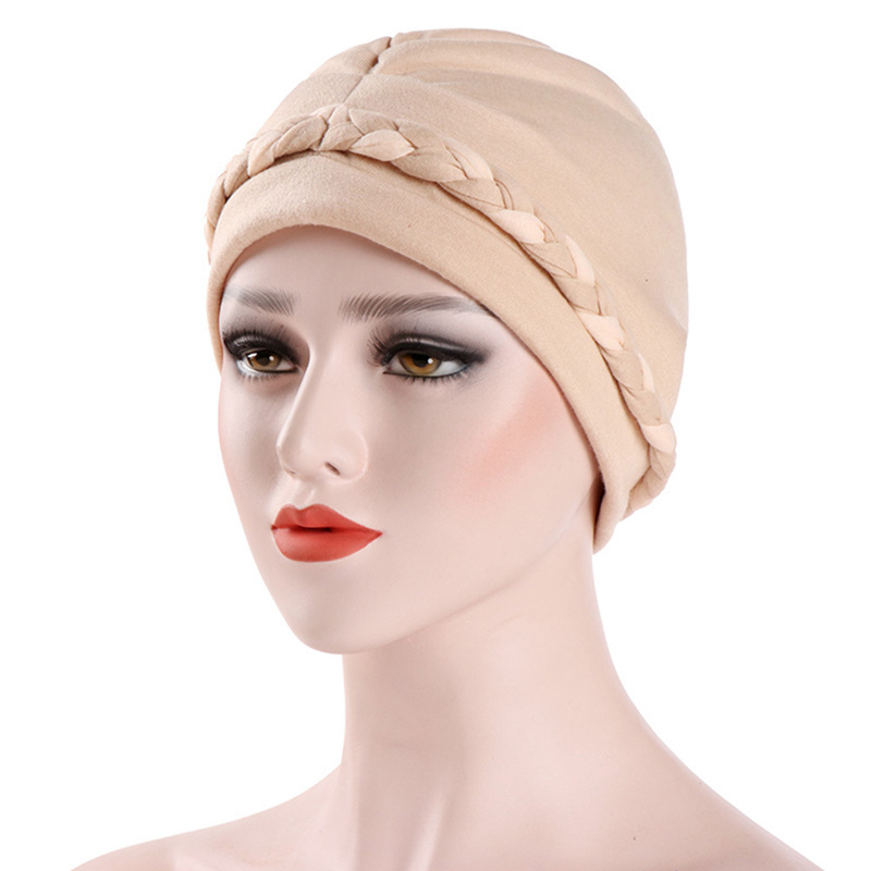 1 Pcs Muslim Women's Hijab Caps Hat Lady Girl Headwear Underscarf 2 Colors Braid Cotton Adjustable Hat