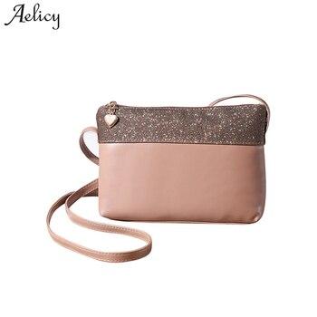8265d32e6 Aelicy PU cuero mujeres Messenger bolsas Patchwork Crossbody hombro de la  manera femenina para las señoras embrague bolsos pequeños