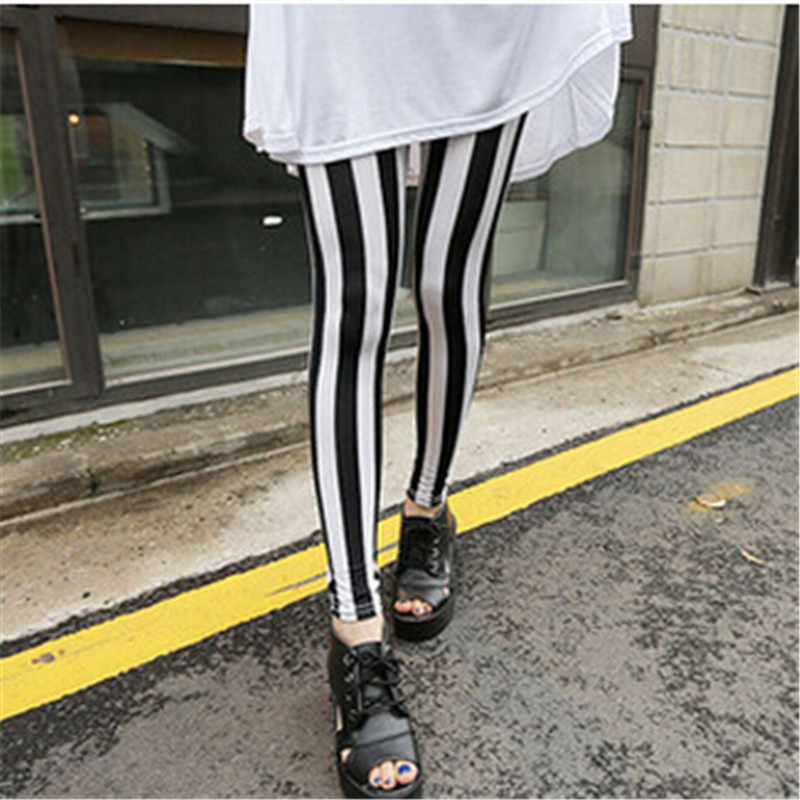 Fashion Soft Retro Multi Styles Women's Sexy Spring Summer Black White Vertical Stripes Leggings Pants High Quality Accessory