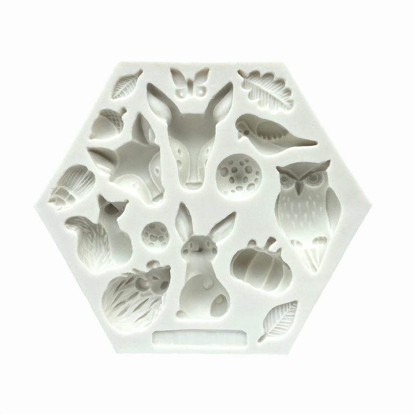 Wholesale 10 pcs lot Squirrels and Owls Silicone Mold Fondant Cake Decorating Tools Candy Chocolate Gumpaste