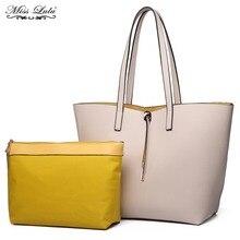 Miss Lulu 2 Pieces Women Handbags Reversible Shoulder Bags Ladies Large  Shopper Bag Girls PU Leather 1edd9c6908400